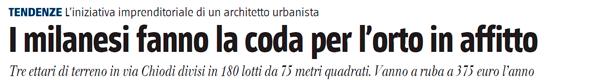 Articolo dedicato agli orti urbani di via Chiodi a Milano